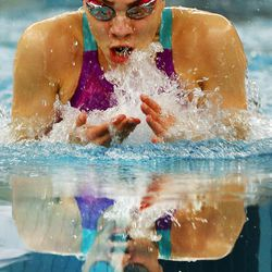 Alexa Walters of Sky View High School competes in the 100 breaststroke during the 5A state high school swimming championships in Provo on Friday, Feb. 10, 2017.