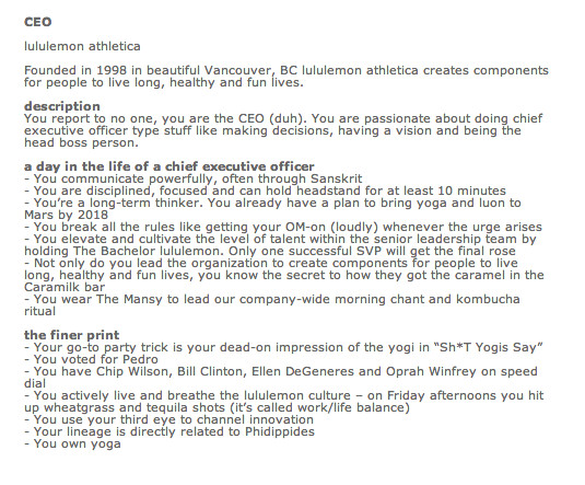 Behold Lululemon'S New Ceo Help Wanted Ad - Racked