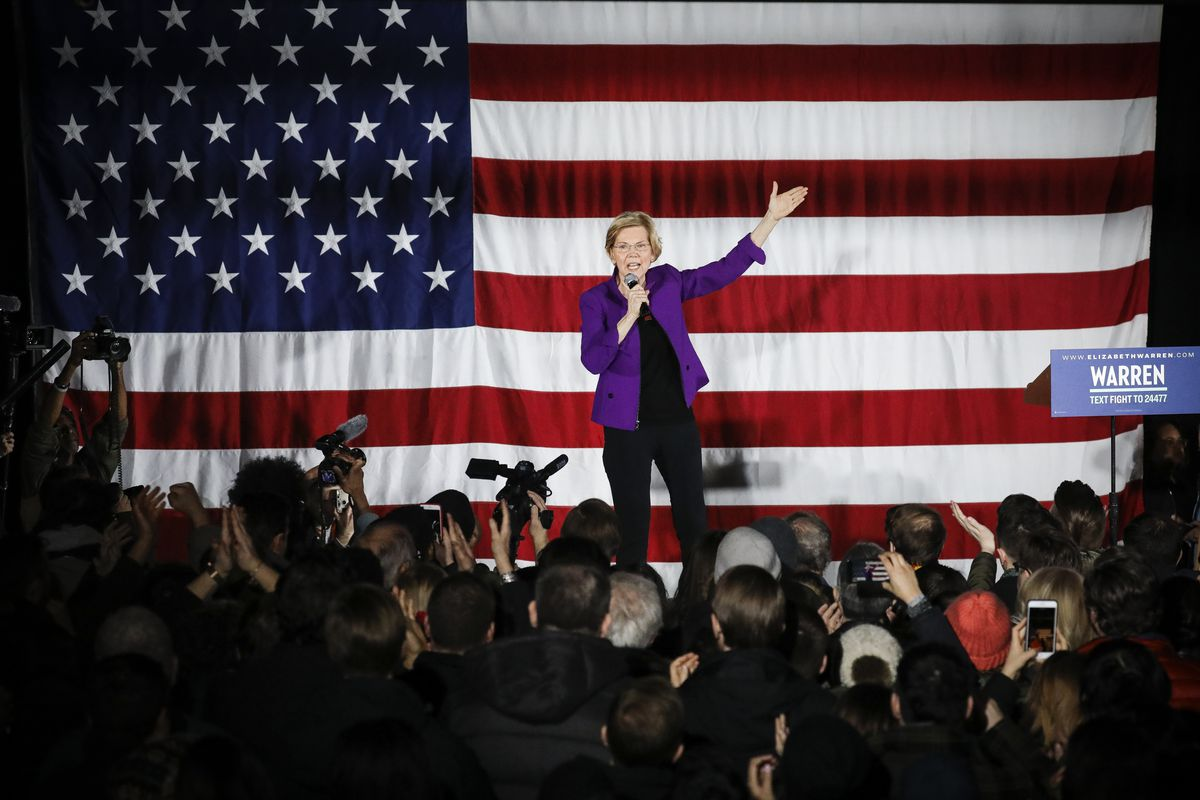 Sen. Elizabeth Warren (D-MA), running for the Democratic Party's 2020 presidential nomination, speaks during a campaign event, in Queens, New York City, on March 8, 2019.
