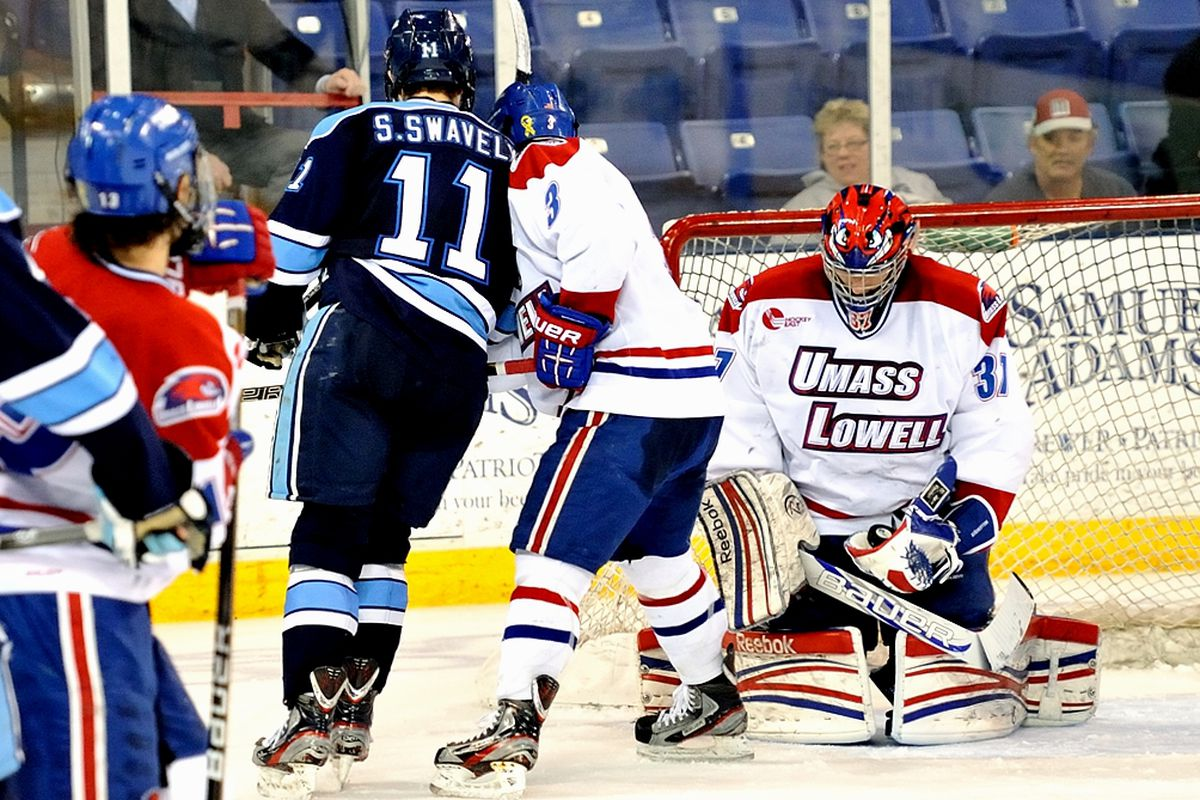 UMass-Lowell freshman goaltender Connor Hellebuyck is one of the NHL draft picks competing in the 2013 Frozen Four.
