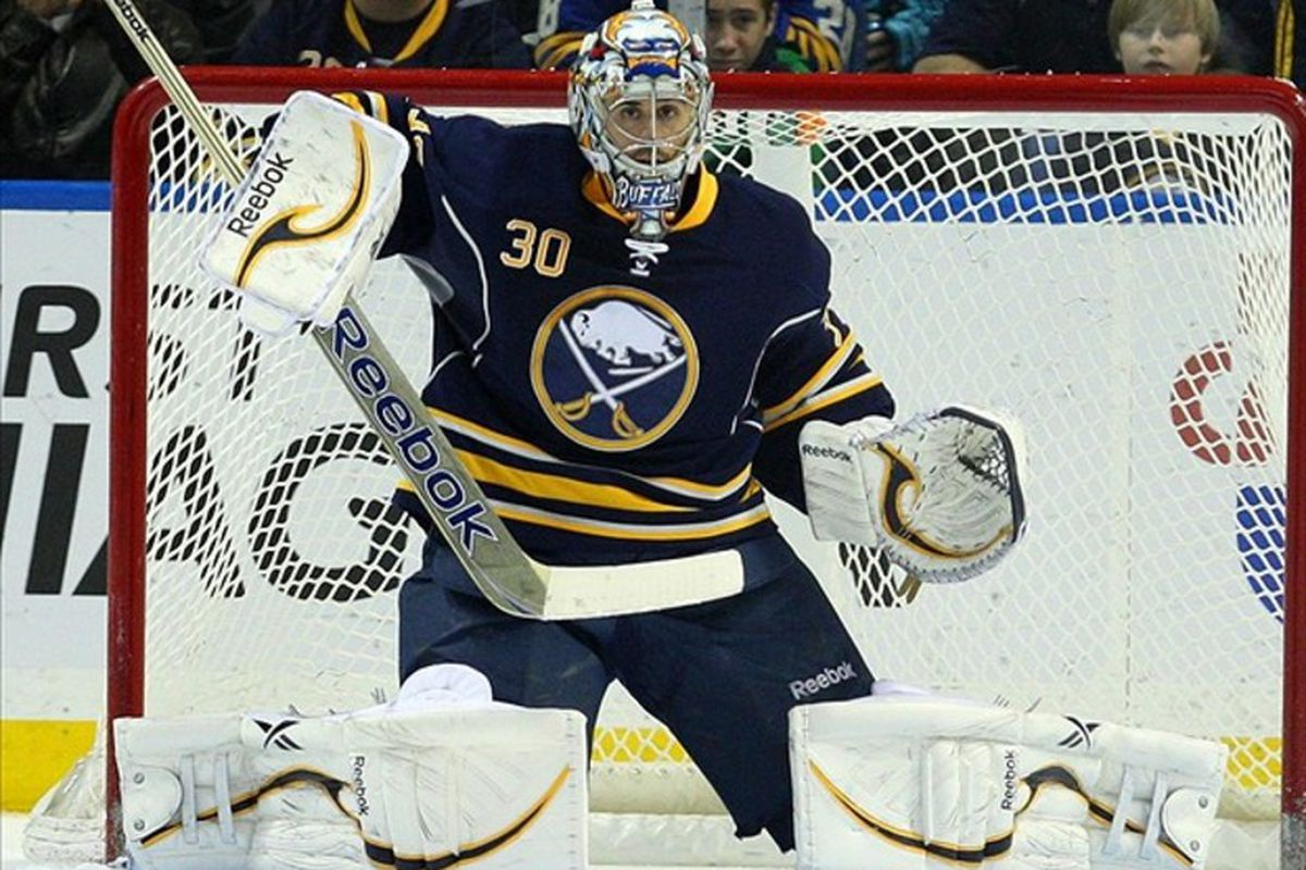 Buffalo Sabres goalie Ryan Miller has been leading the Sabres' playoff charge.  Mandatory Credit: Timothy T. Ludwig-US PRESSWIRE