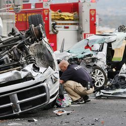 Unified police and fire respond to a crash at 14400 S. Mountain View Corridor in Herriman that resulted in a single fatality Thursday, Oct. 29, 2015.