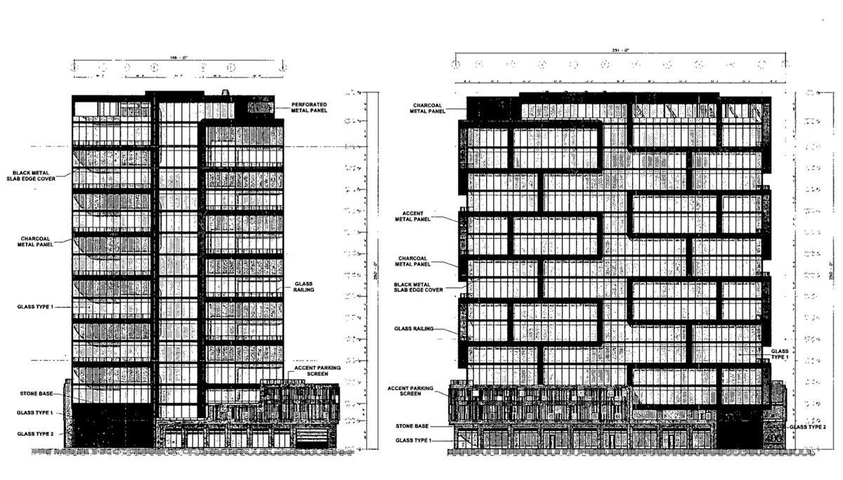 A black and white schematic showing a glass and metal building with an offset exterior grid.