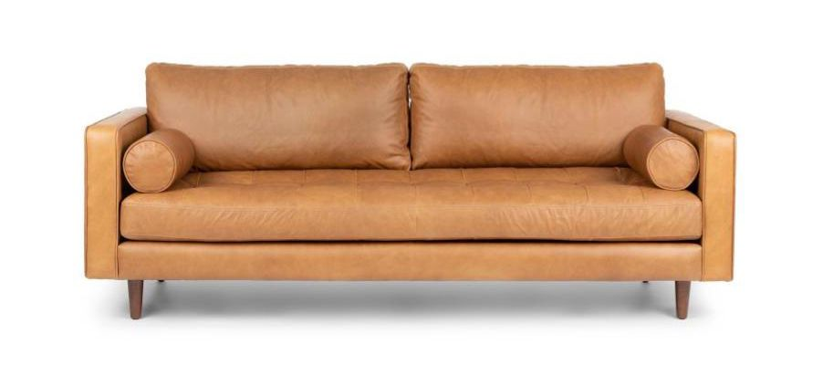 Cognac leather sofa with two seats.