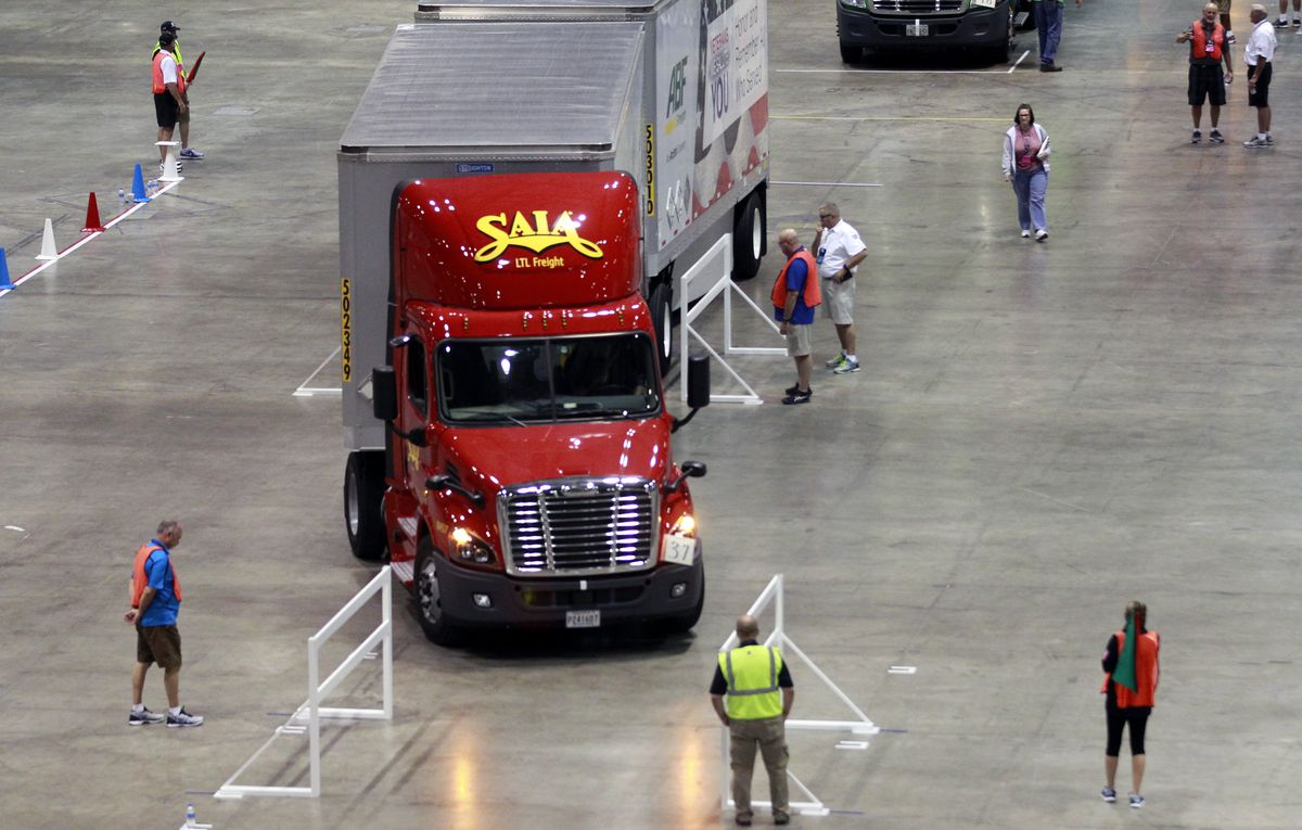 A truck competes on the main course