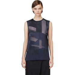 """<b>Helmut Lang</b> blouse, <a href=""""https://www.ssense.com/women/product/helmut_lang/navy-hexa-burn-out-top/105259"""">$168</a>"""