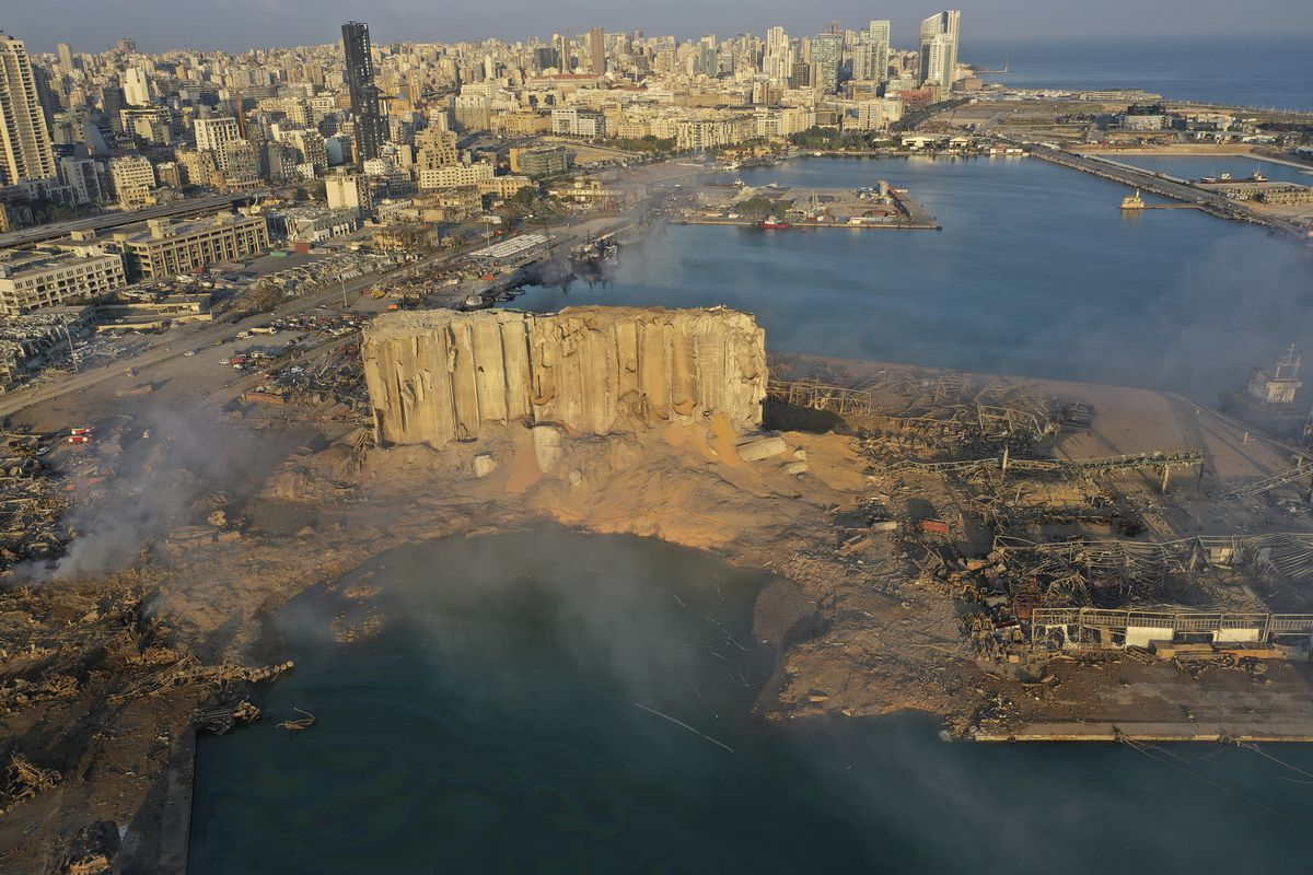 A drone camera captures the scene after an explosion hit the seaport of Beirut, Lebanon. The Aug. 4, 2020 blast at Beirut's port tore through the city at 6:07 p.m., destroying entire neighborhoods.