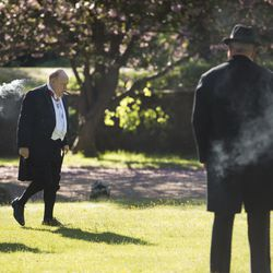 """Richard Durden as Jan Smuts, left, and Brian Cox as Winston Churchill in """"Churchill."""""""