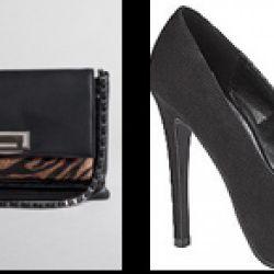 "From left: Animal print chain shoulder bag, $57.99 (orig. $84); ""Los Angeles"" black pump, $41.99 (orig. $59.99)"