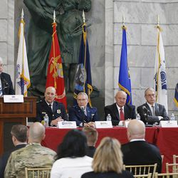Panelists speak during an event sponsored by the Council for a Strong America at the Capitol rotunda in Salt Lake City on Tuesday, Feb. 21, 2017.
