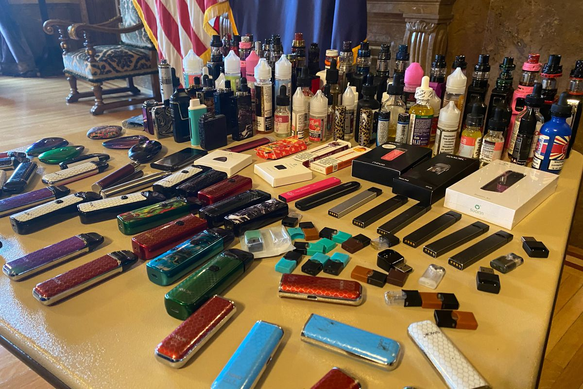 A press conference about vaping is held at the State Capitol on Jan. 29, 2020.