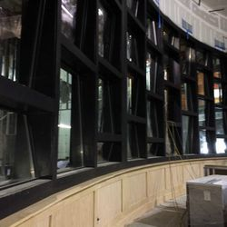 Glass wall which will house the winery and barrel room behind it.