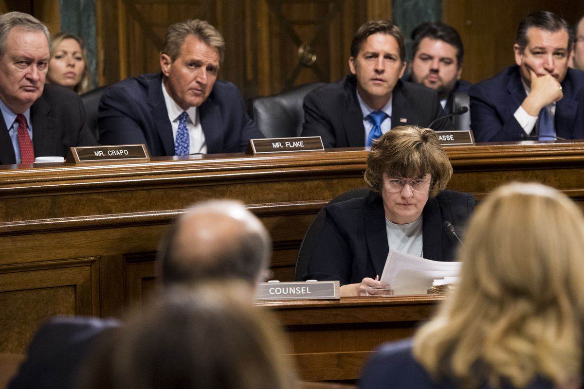 Rachel Mitchell sits before the Senate Judiciary Committee and questions Christine Blasey Ford in September 2018.