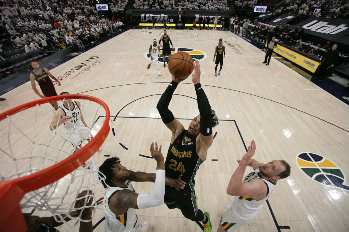 Dillon Brooks #24 of the Memphis Grizzlies shoots the ball during the game against the Utah Jazz during Round 1, Game 1 of the 2021 NBA Playoffs on May 23, 2021 at vivint.SmartHome Arena in Salt Lake City, Utah.