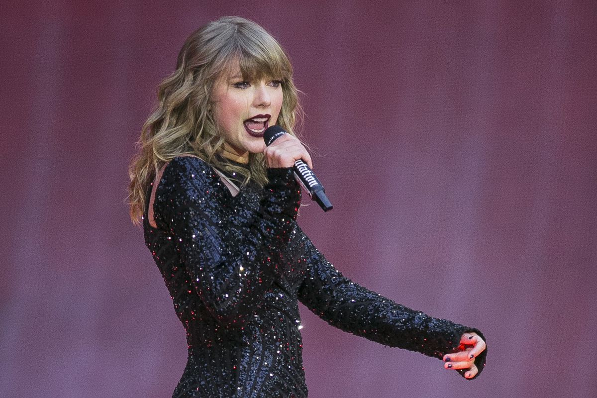 In this June 22, 2018, file photo, singer Taylor Swift performs on stage in concert at Wembley Stadium in London.