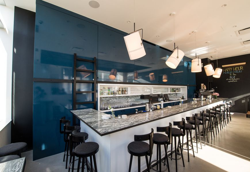 The camlin a clean modern williamsburg wine bar from the for Commercial wine bar design ideas