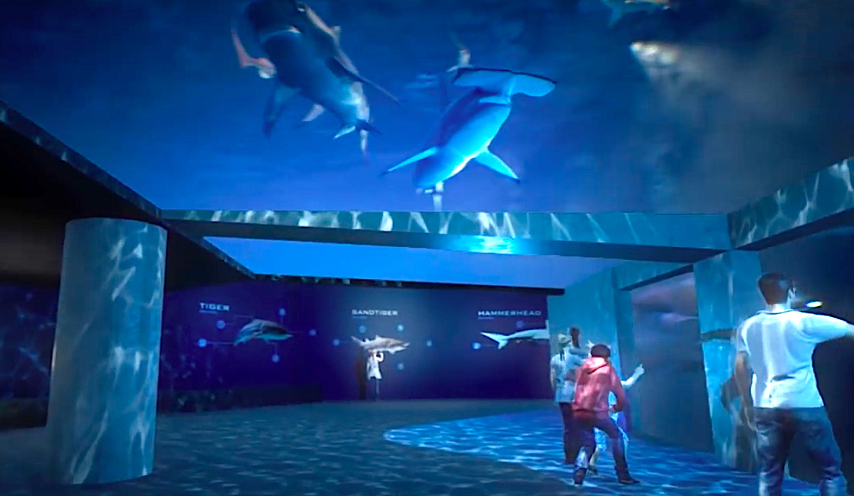 A new shark exhibit with windows above and below, and people in amazement.