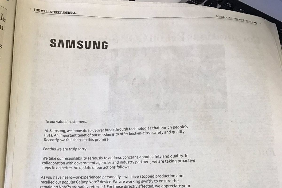Samsung Runs Full Page Apology Ads Over Galaxy Note 7