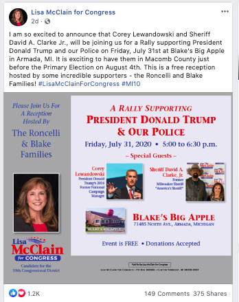 The flyer states that the reception is being hosted by the Roncelli family and the Blake family and congressional candidate Lisa McClain.