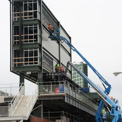 3:26 p.m. The back of the right-field video board -