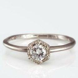 Satomi Kawakita's Hexagon Ring with a White Diamond for $590