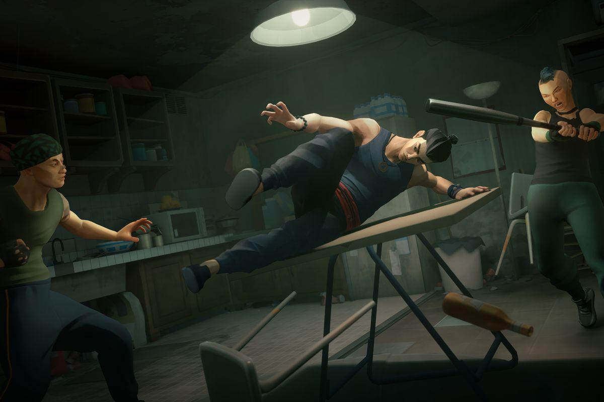 Sifu's hero vaults a table to avoid a bat-wielding thug