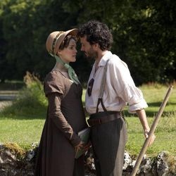 "Keri Russell (Jane Hayes) and Bret McKenzie (Martin), perform in ""Austenland."""