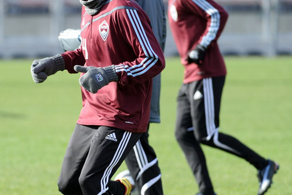TORONTO - NOVEMBER 20:  Omar Cummings #14 of the Colorado Rapids dribbles the ball during practice in preparation for the MLS Cup against FC Dallas at BMO Field on November 20 2010 in Toronto Canada.  (Photo by Harry How/Getty Images)
