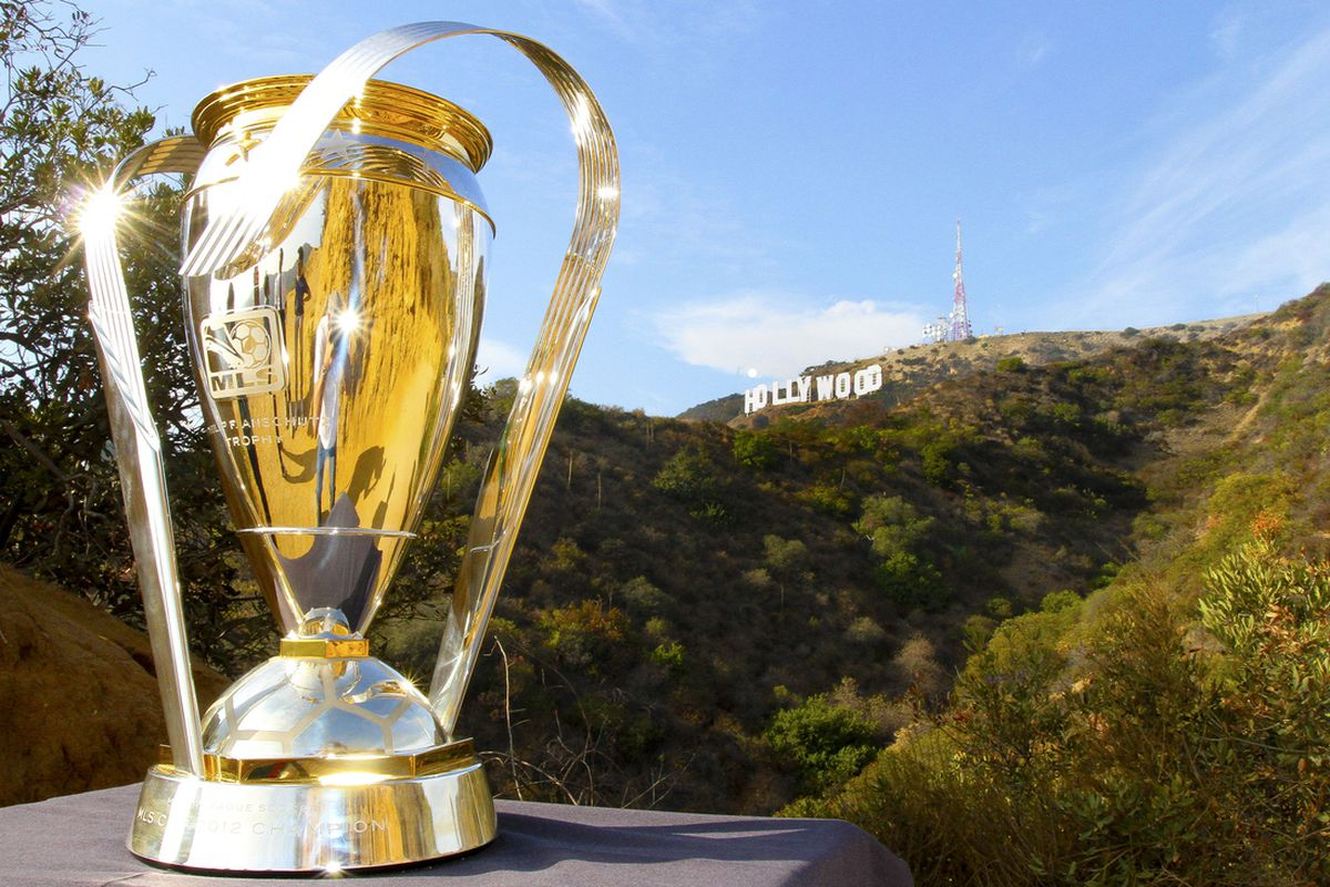 The Philip F. Anschutz Trophy, in front of the iconic Hollywood sign, has reached Los Angeles ahead of MLS Cup 2012 on Saturday, Dec. 1 at 4:30 p.m. ET (ESPN; TeleFutura; TSN; RDS).