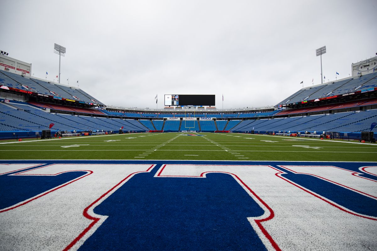 General view of empty New Era Field before the game between the Buffalo Bills and the New England Patriots on September 29, 2019 in Orchard Park, New York. New England defeats Buffalo 16-10.