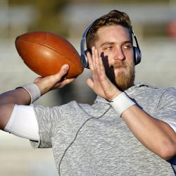 Southern Utah University backup quarterback Aaron Zwahlen warms up before his team faces Weber State in NCAA football in Cedar City on Saturday, Dec. 2, 2017.