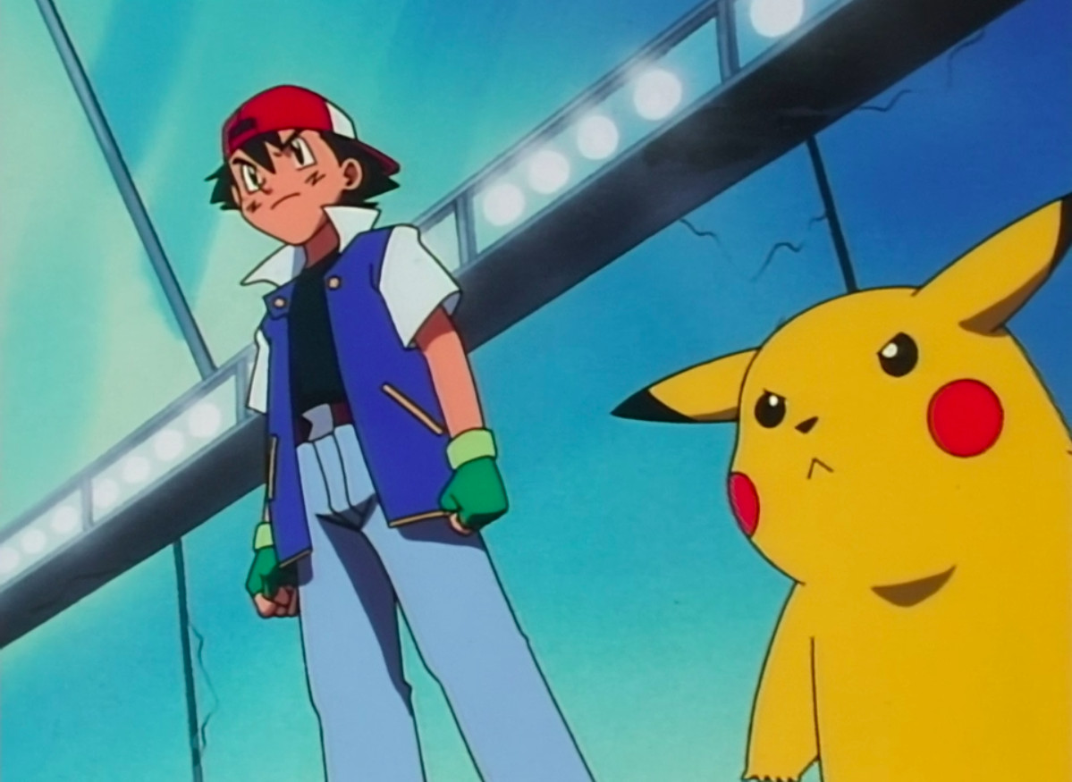 Ash and Pikachu stand at the beginning of a gym battle