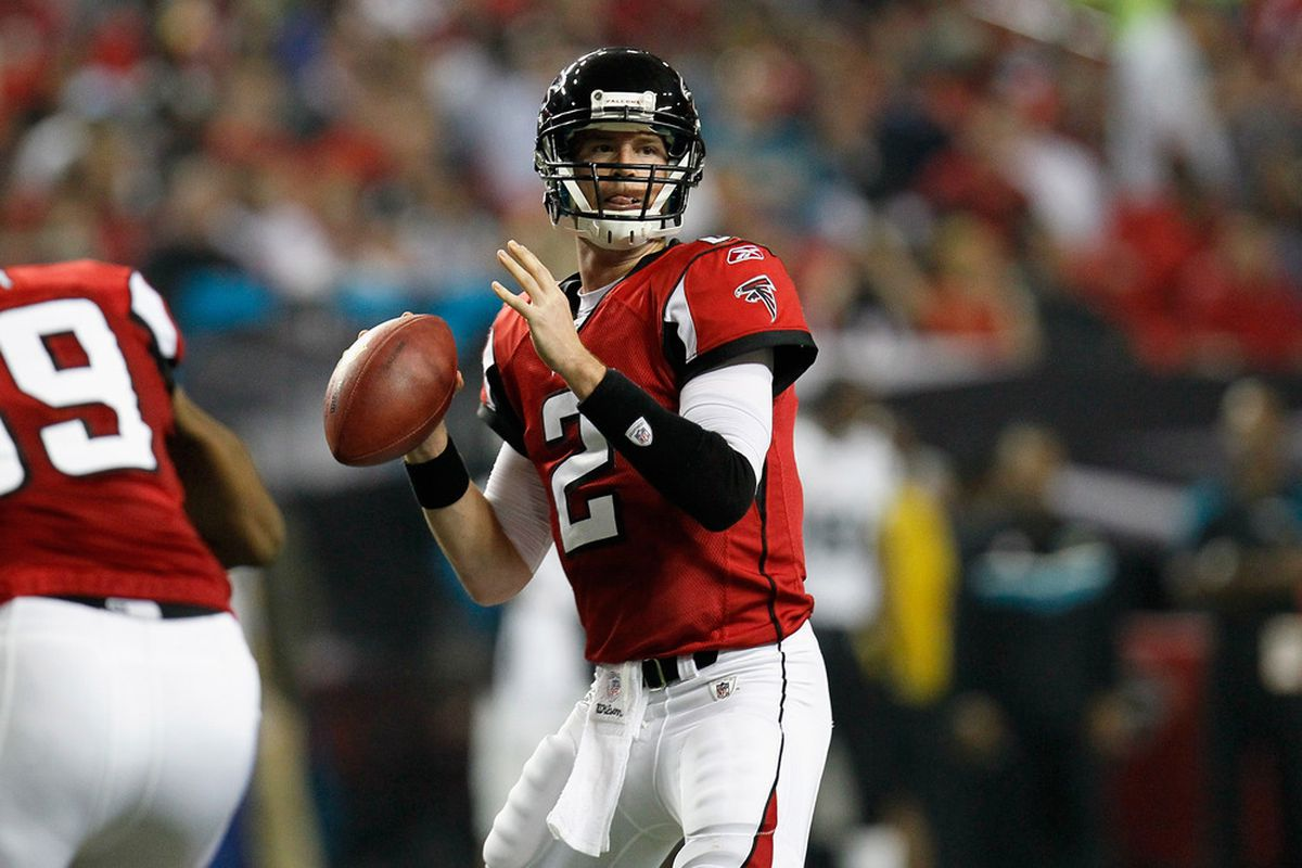 Matt Ryan of the Atlanta Falcons throws a pass against the Jacksonville Jaguars at the Georgia Dome on December 15, 2011 in Atlanta, Georgia.  (Photo by Kevin C. Cox/Getty Images)