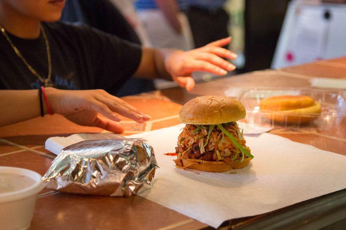 A spicy Korean pork sandwich at Heirloom Market BBQ.
