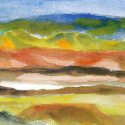 """""""San Juan County,"""" by Russ Fjeldsted, water color, 6 by 12 inches, currently on display at Mountain Place Gallery."""