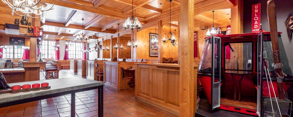 Inside the Matterhorn restaurant, with wall-to-wall knotty pine