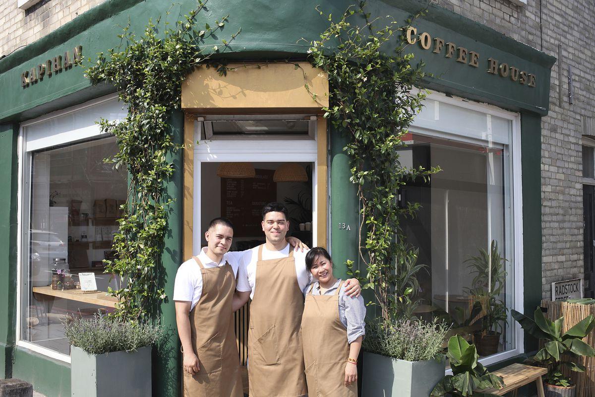Nigel, David, and Plams Motley outside Kapihan, in Battersea