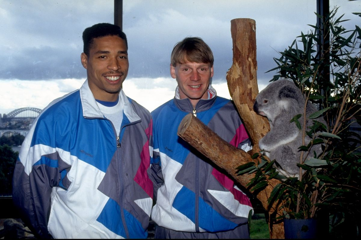 Here's Des and Stuart, posing next to a koala bear and sporting some busting shell suits