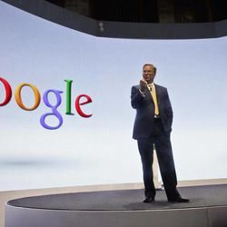 Eric Schmidt, Google's chairman, speaks during a press conference on Wednesday, Sept. 5, 2012 in New York, where Motorola introduced three new smartphones, the first since it became  a a part of Google.