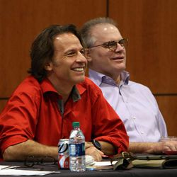 Kurt Bestor and Sam Cardon were two of the judges at the national anthem tryouts at EnergySolutions Arena in Salt Lake City on Friday, Oct. 4, 2013. The winners will perform the anthem prior to each Utah Jazz home game during the 2013-2014 season.