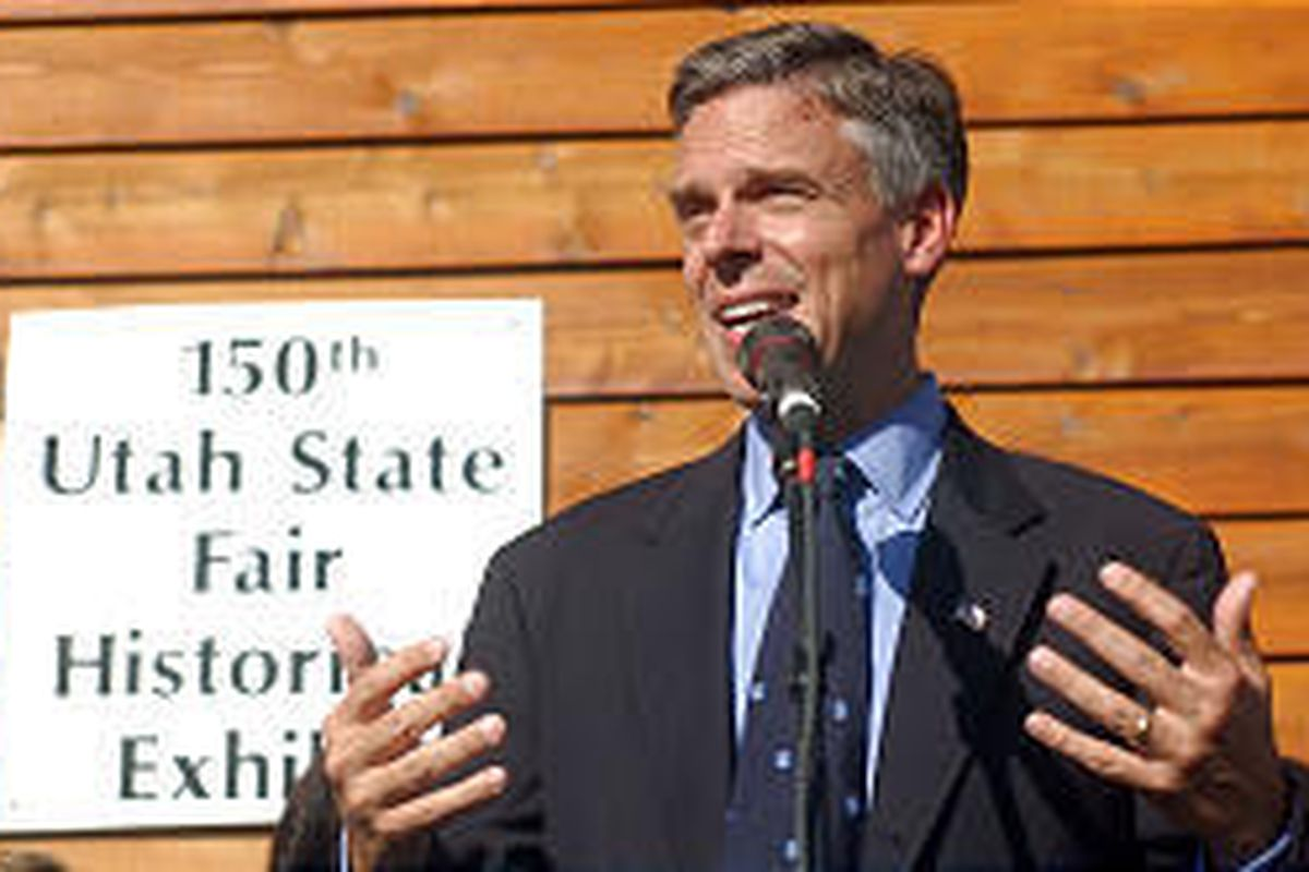 Gov. Jon Huntsman Jr. speaks Thursday at the Fairpark where he cut a ribbon to officially open this year's sesquicentennial Utah State Fair. Huntsman said that the fair feeds the state economically and socially.