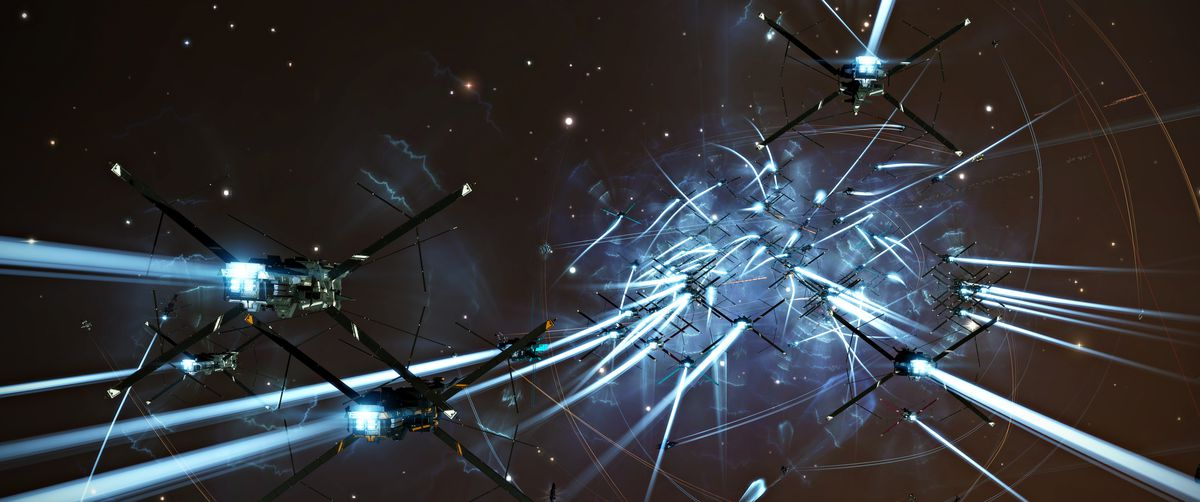 Capital ships deploy X-shaped fins in flight to protect a massive starbase.