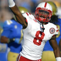 Nebraska running back Ameer Abdullah celebrates a touchdown during the first half of their NCAA football game against UCLA, Saturday, Sept. 8, 2012, in Pasadena, Calif.  (AP Photo/Mark J. Terrill)