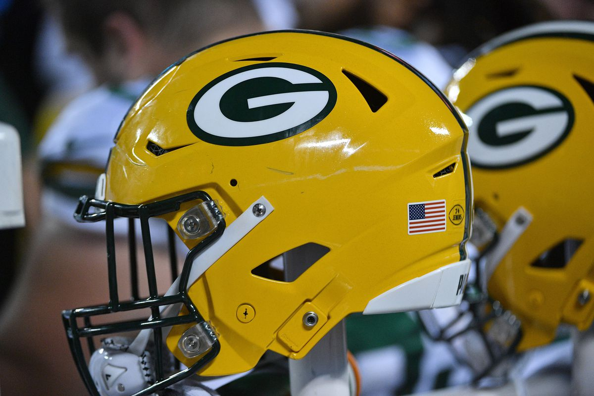 A general view of a Green Bay Packers helmet during the second half against the Kansas City Chiefs at Arrowhead Stadium.