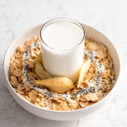 Everything Bagel Bowl with Special K Original, poppy seeds, sesame seeds, onion chips, cream cheese frosting, salt, and milk