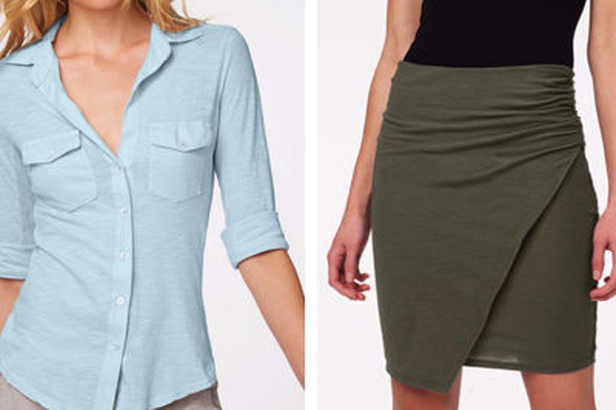 "<a href=""http://www.jamesperse.com/women/sheer-slub-side-panel-shirt/viewProduct.do?productId=prod1100006&amp;categoryId=cat820013"">Sheer slub side panel shirt</a>, $89 (was $155), and <a href=""http://www.jamesperse.com/women/sarong-skirt/viewProduc"