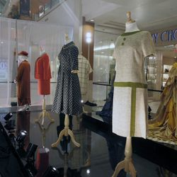 Costume Designers Guild president Mary Rose curated the exhibit of TV show looks, including these outfits as seen on <i>Mad Men</i>.
