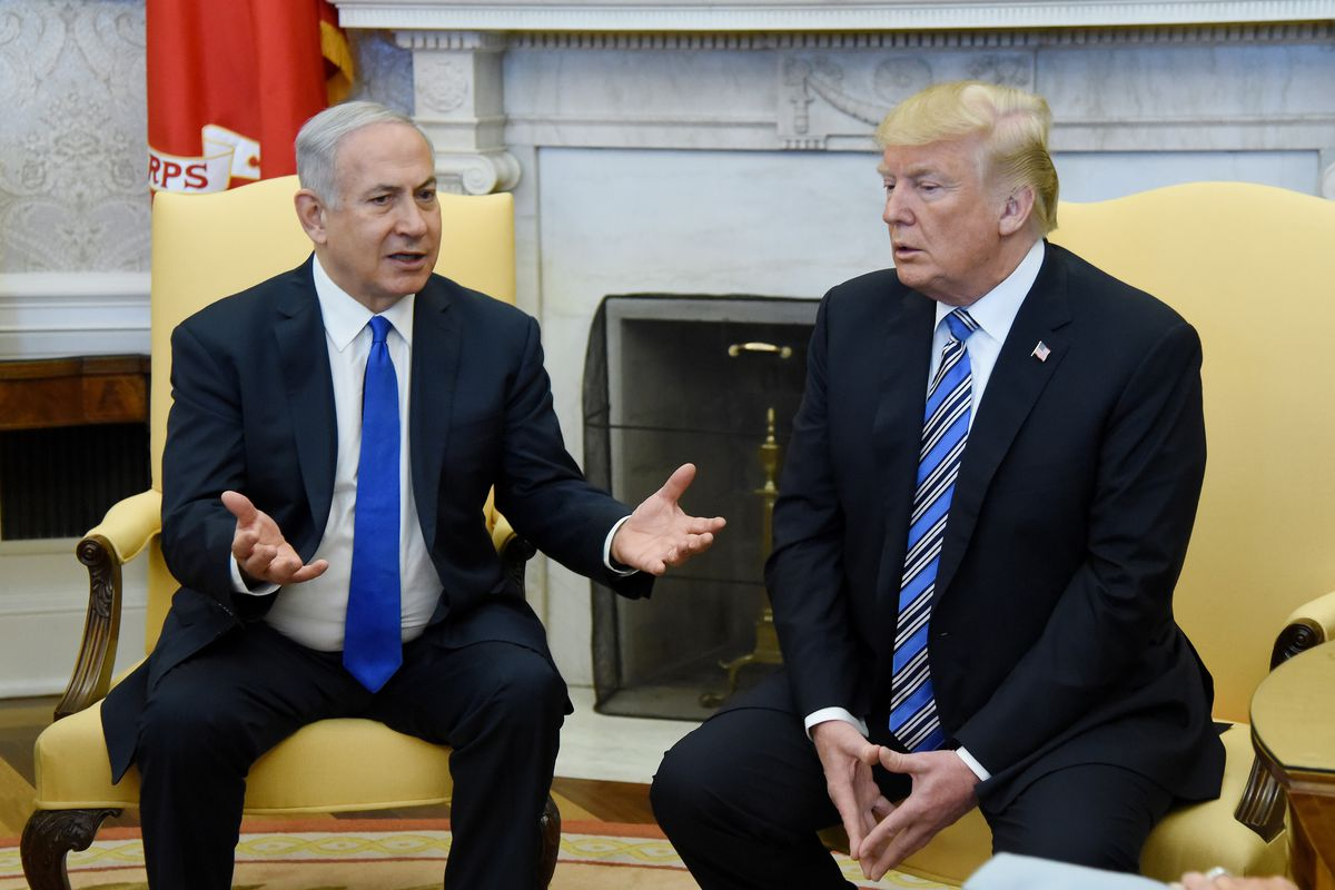 a31f3c2c97e65a President Donald Trump and Israeli Prime Minister Benjamin Netanyahu meet in  the Oval Office of the White House on March 5
