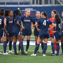 UConn women's soccer team takes a break during the UMass Minutewomen vs the UConn Huskies at Morrone Stadium at Rizza Performance Center in an exhibition women's college soccer game in Storrs, CT, Monday, August 9, 2021.