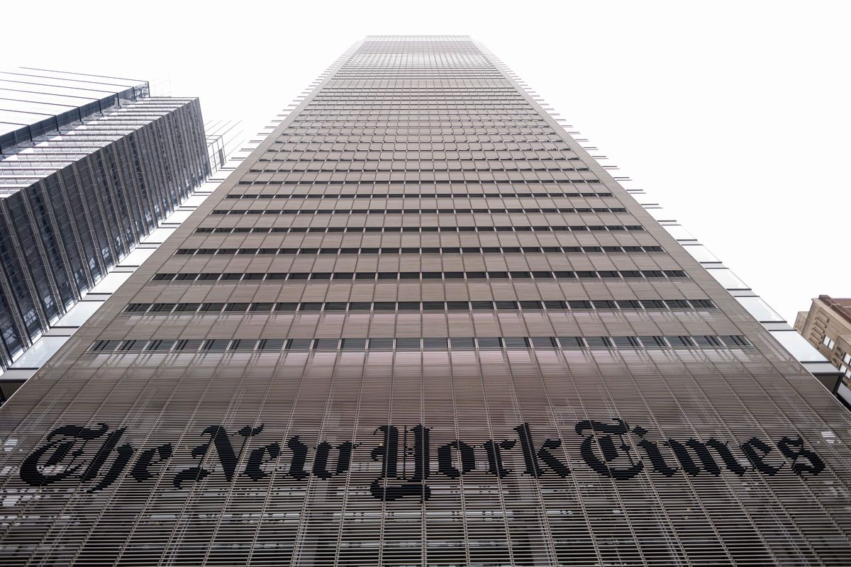 The New York Times building is seen on June 30, 2020 in New York City